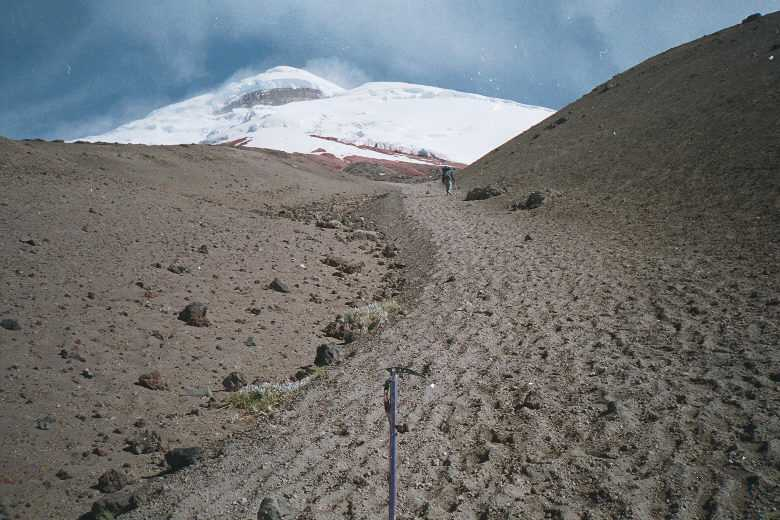 Climbing the scree slope to the refugio